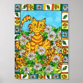 デイジーパッチの小型民芸の母猫及び子ネコ ポスター
