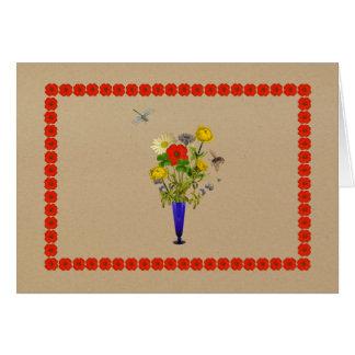 デイジー、ケシ、ヤグルマギク、キンボウゲの花束 カード