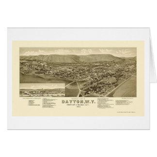 デイトンのWAのパノラマ式の地図- 1884年 カード