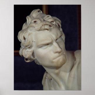 デイヴィッドの頭部の詳細、1623-23年 ポスター
