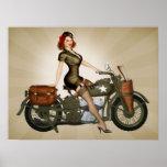 デイヴィッドソンArmy Motorcycle Pinup下士官 ポスター