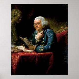 デイヴィッドマーティン1767年著ベンジャミン・フランクリンのポートレート ポスター