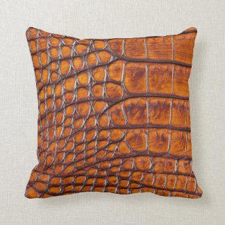 デザイナーわにワニの皮の青銅色 クッション