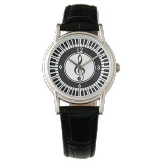 デザイナーピアノ鍵およびト音記号の腕時計 腕時計