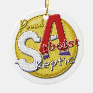 デザイナーロゴの背部を持つ誇り高く無神論的な懐疑者 セラミックオーナメント