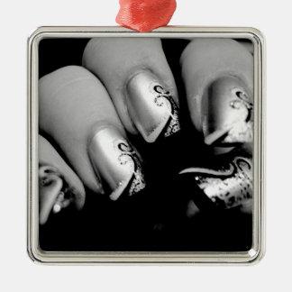 デザイナー指の爪 シルバーカラー正方形オーナメント