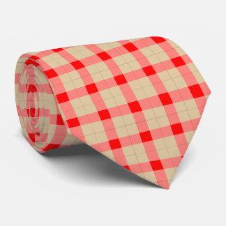 デザイナー格子縞/ギンガムパターン赤およびベージュ色 カスタムタイ