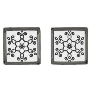 デザイナー正方形のカフスボタン: 民俗曼荼羅 ガンメタル カフリンク
