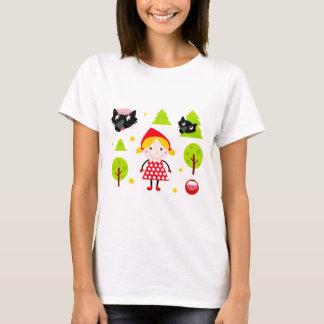 デザイナー赤い乗馬フードの版 Tシャツ