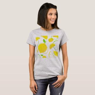 デザイナーTシャツの灰色: 柑橘類の黄色 Tシャツ
