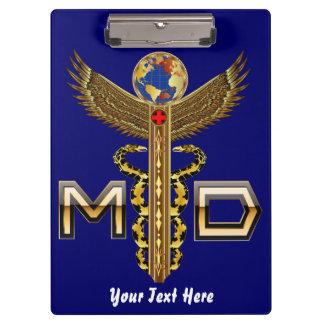 デザインについての医学のロゴの前部背部眺め クリップボード