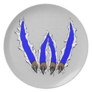 デザインによって裂ける山猫の爪-青 ディナープレート