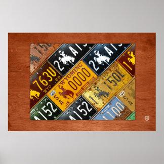 デザインのターンパイクによるワイオミングの州のナンバープレートの地図 ポスター