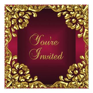 デザインのパーティーの招待の金ゴールドのバーガンディの上品な赤 カード
