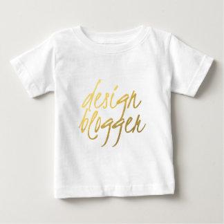 デザインのブロガー-金ゴールドの原稿 ベビーTシャツ