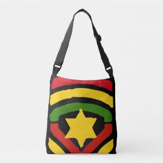 デザインの十字の遺体袋をくまなくJah Rastafari クロスボディバッグ