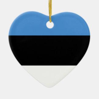 デザインをくまなくエストニアの旗 陶器製ハート型オーナメント