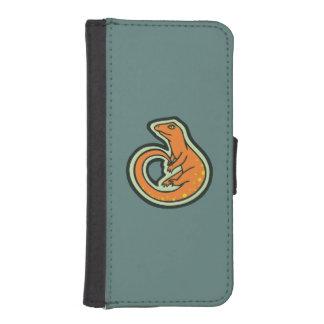 デザインを引出す点を持つ長い尾のオレンジトカゲ iPhoneSE/5/5sウォレットケース