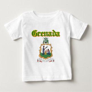 デザイングレナダのグランジな紋章付き外衣 ベビーTシャツ