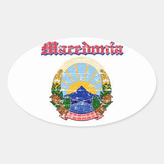 デザインマケドニアのグランジな紋章付き外衣 楕円形シール