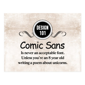 デザイン101: 漫画はSans決して受諾可能なフォントではないです ポストカード