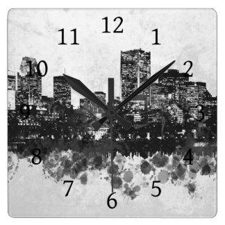 デザイン47のスカイラインの都市景観 スクエア壁時計