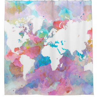 デザイン48の世界地図 シャワーカーテン