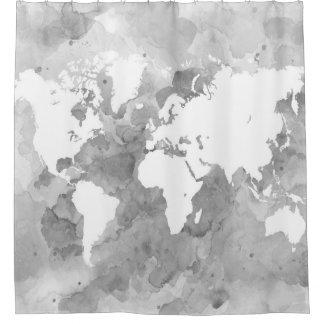 デザイン49の世界地図のグレースケール シャワーカーテン