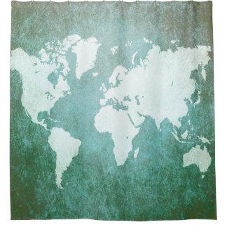 デザイン55の世界地図 シャワーカーテン