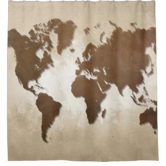デザイン64の世界地図 シャワーカーテン