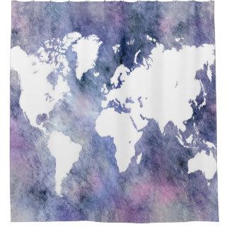 デザイン65の世界地図 シャワーカーテン