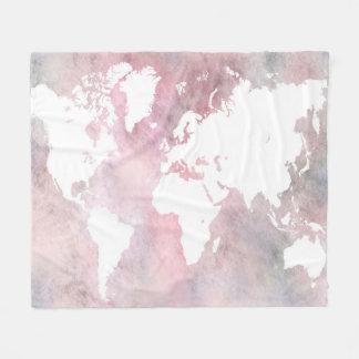 デザイン66のピンクの世界地図 フリースブランケット