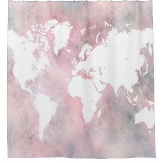 デザイン66の世界地図 シャワーカーテン