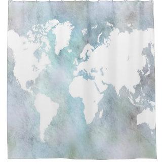 デザイン68の世界地図 シャワーカーテン