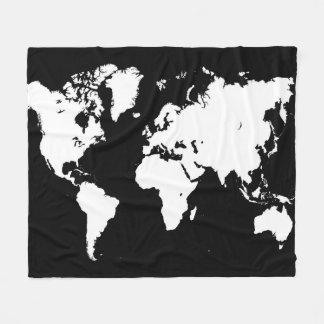 デザイン69の白黒の世界地図 フリースブランケット