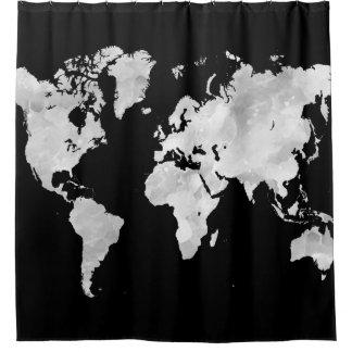 デザイン70の黒い灰色の世界地図 シャワーカーテン