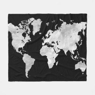 デザイン70の黒い灰色の世界地図 フリースブランケット