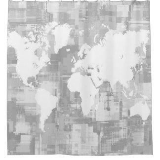 デザイン71の世界地図のグレースケール シャワーカーテン