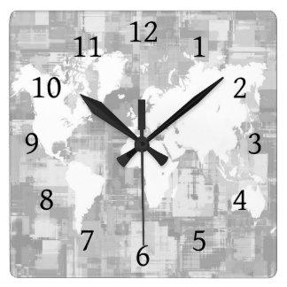 デザイン71の灰色白の世界地図 スクエア壁時計