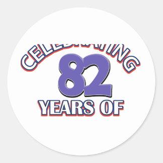 デザイン82年の誕生日の ラウンドシール