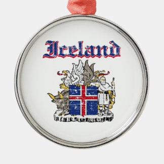 デザインIcelandsのグランジな紋章付き外衣 シルバーカラー丸型オーナメント