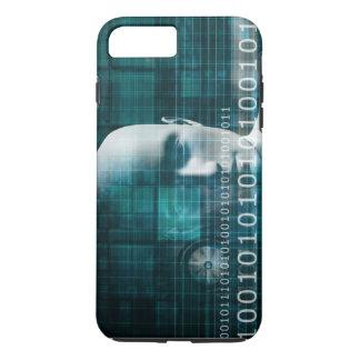 デジタルバイナリとして科学の技術の背景 iPhone 8 PLUS/7 PLUSケース