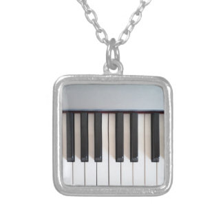 デジタルピアノキーボード シルバープレートネックレス
