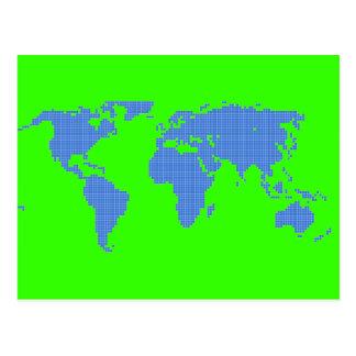 デジタルピクセルビットマップ世界地図のグラフィック ポストカード
