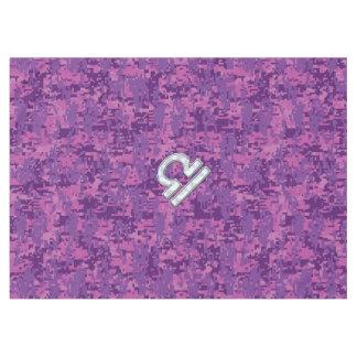 デジタルピンクの迷彩柄の天秤座の(占星術の)十二宮図の印 テーブルクロス