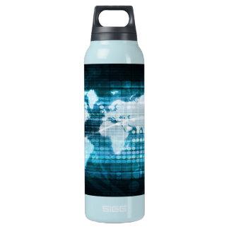 デジタル全体的な技術の概念の抽象芸術 断熱ウォーターボトル