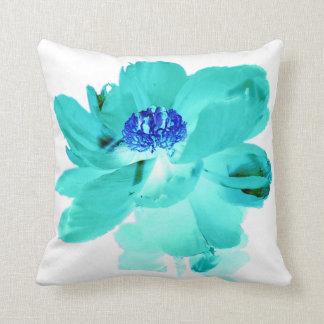デジタル効果の青緑の花 クッション