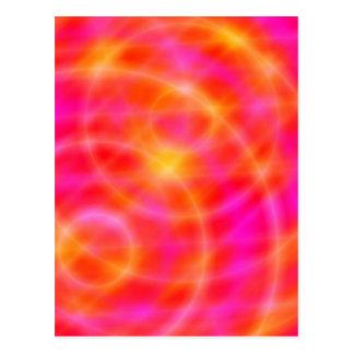 デジタル宇宙の芸術の郵便はがき-ピンク/オレンジ惑星 ポストカード