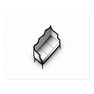 デジタル式に描かれる隔離されたヴィンテージのソファー ポストカード