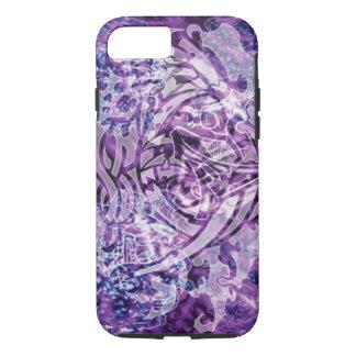 デジタル抽象的な種族の芸術、紫色及び白 iPhone 8/7ケース